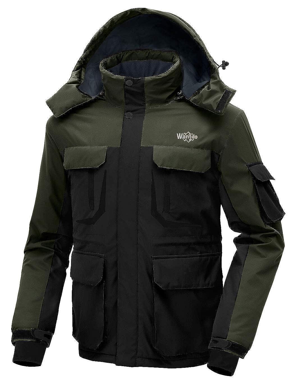 Wantdo Men's Warm Ski Jacket Hooded Mountain Waterproof Winter Coat Windproof Raincoat Outdoors Parka