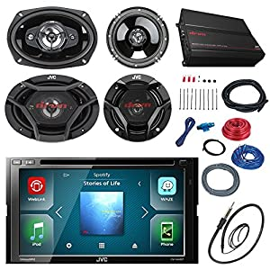 "JVC KWV420BT 7"" Touch Screen Car CD/DVD Receiver Bundle Combo With 2x Dual 6.5"" 2-Way And 2x 6x9"" Inch 4-Way Coaxial Speakers + 800-Watt 4-Channel Amplifier With Install Kit + Enrock AM/FM Antenna"