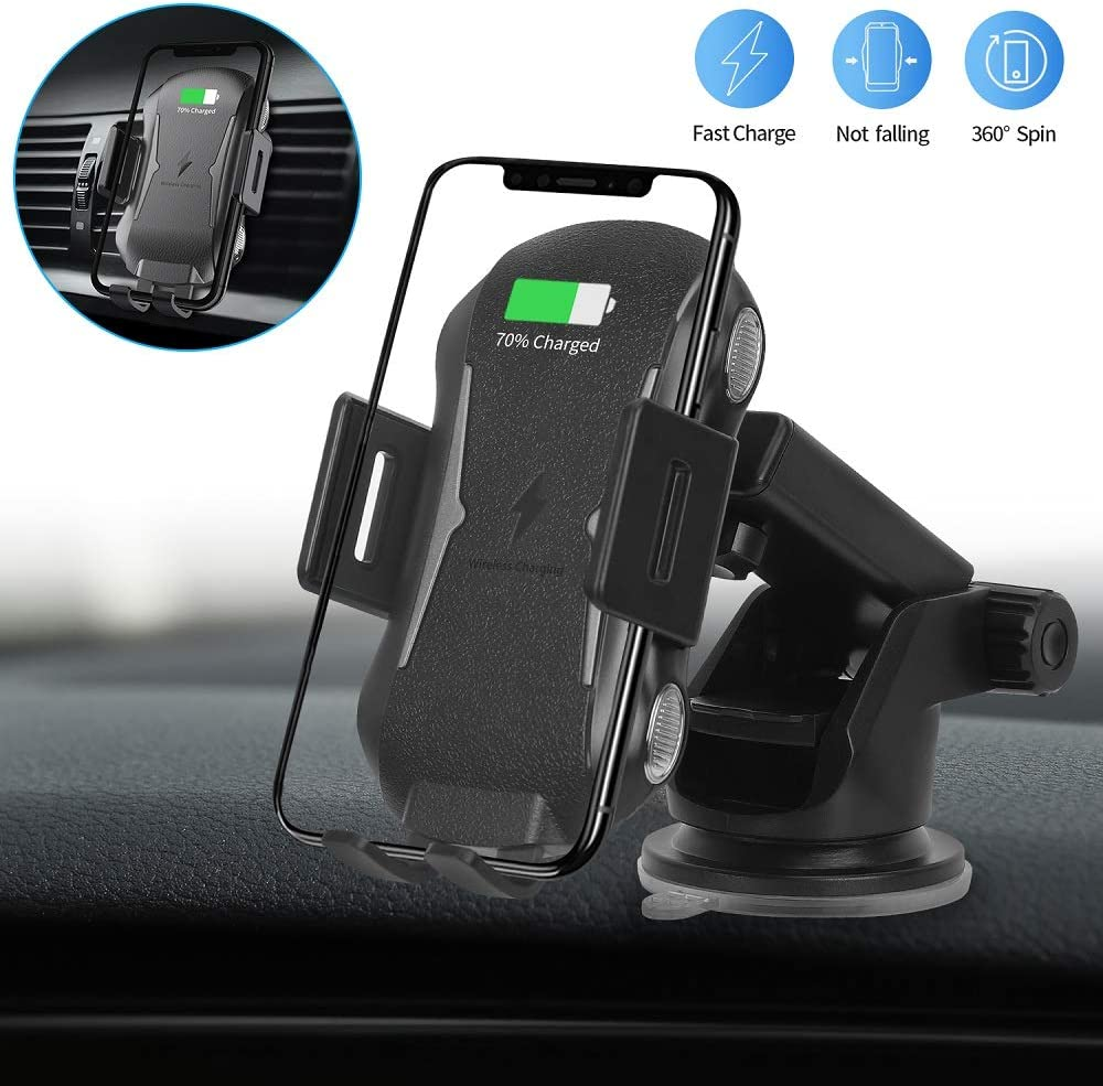 Wireless Car Charger, Phone Mount Holder Auto Clamping 10W/7.5W Qi Fast Charger Air Vent Windshield Dashboard Stand fits iPhone Xs/Xs Max/XR/X/8, Samsung Galaxy S10/S9/S8 by ViceTing (Black1)