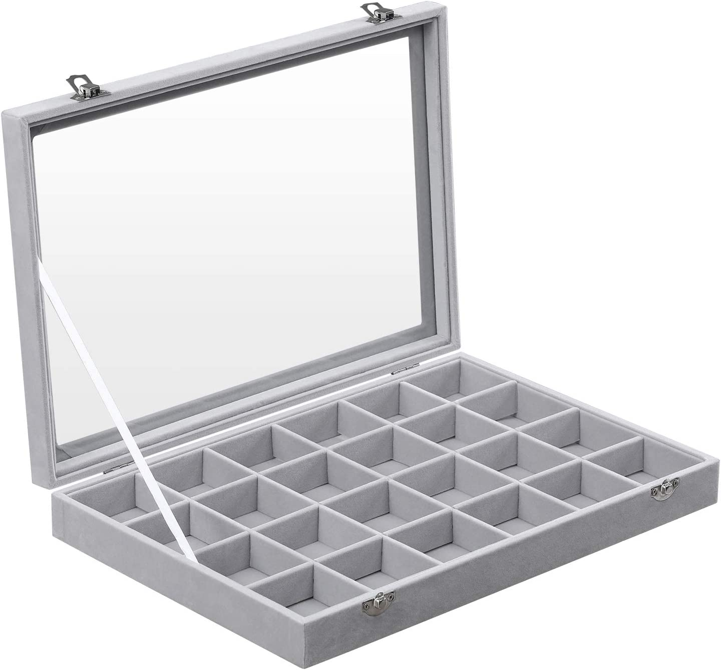 SONGMICS Jewelry Box and Display Case with a Glass Window and 24 Compartments for Earrings, Gray