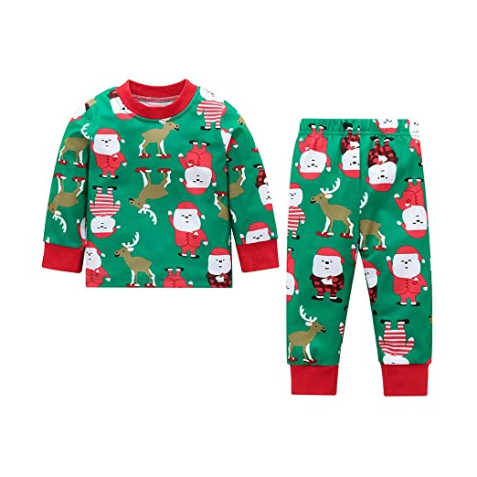 Amazon.com  Comfydot Baby Pajamas Toddler Cotton Long Sleeve Pants Clothes  Green Red 6-18M  Home   Kitchen 177fc7269