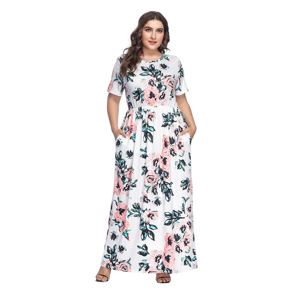 TALLA (EU46-48)XL. Lover-Beauty Vestido Largo Mujer Talla Grande Moda Bolsillo Top Falda para Fiesta Verano Manga Corta Floral Estampada Suleto Moda de Ropa Elegante Maxi Blanco 2 (EU46-48)XL