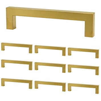 "Goldentimehardware Square Gold 128mm(5"") Hole Centers In Brushed Brass Modern Kitchen Door Cabinet Handles Pulls Hardware   10 Pack by Goldentimehardware"