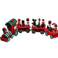 Trenes de Juguete,4 Piezas de Madera Navidad Tren de Navidad decoración hogar decoración niños Trenes de Madera Juguete Feliz Navidad Regalos por Morwind