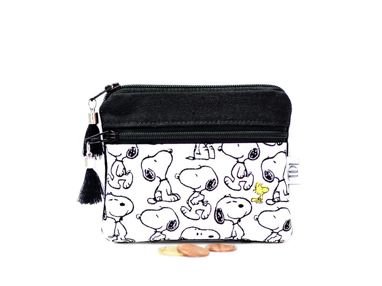 Snoopy coin purse, Peanuts mini wallet, Small change, Card holder, Zipper pouch, Canvas wallet, Teacher gift, Earbud case, Key bag