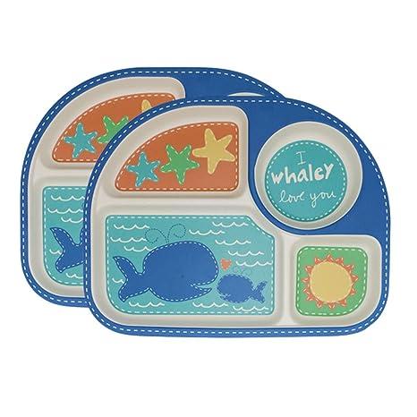 Plato Para Bebé,2 Platos Compartimentos Niño Y Bebé Alimentación Cuberteria Infantiles Bambu Vajilla Infantil