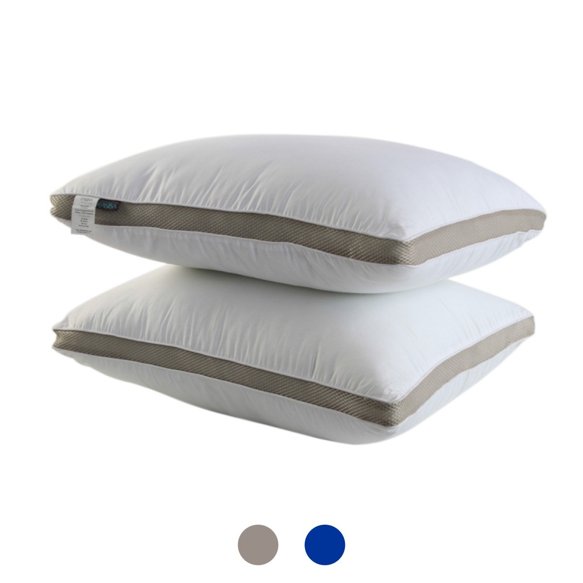RoyalPie Gusseted Quilted 100% cotton Pillow - Hypo Allergenic and Easy Care - Premium Quality Pillows ( Twin - 2 Pack, Silver)