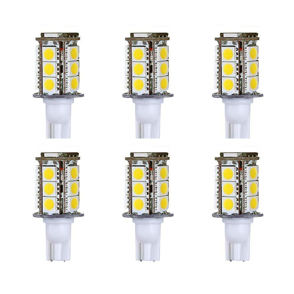 Makergroup T5 T10 Wedge Base LED Light Bulb High Brightness 12VAC/DC 3Watt 2700K-3000K for Outdoor Landscape Lighting Deck Stair Step Path Lights and Automotive RV Lights (3W 6-Pack, Warm White)
