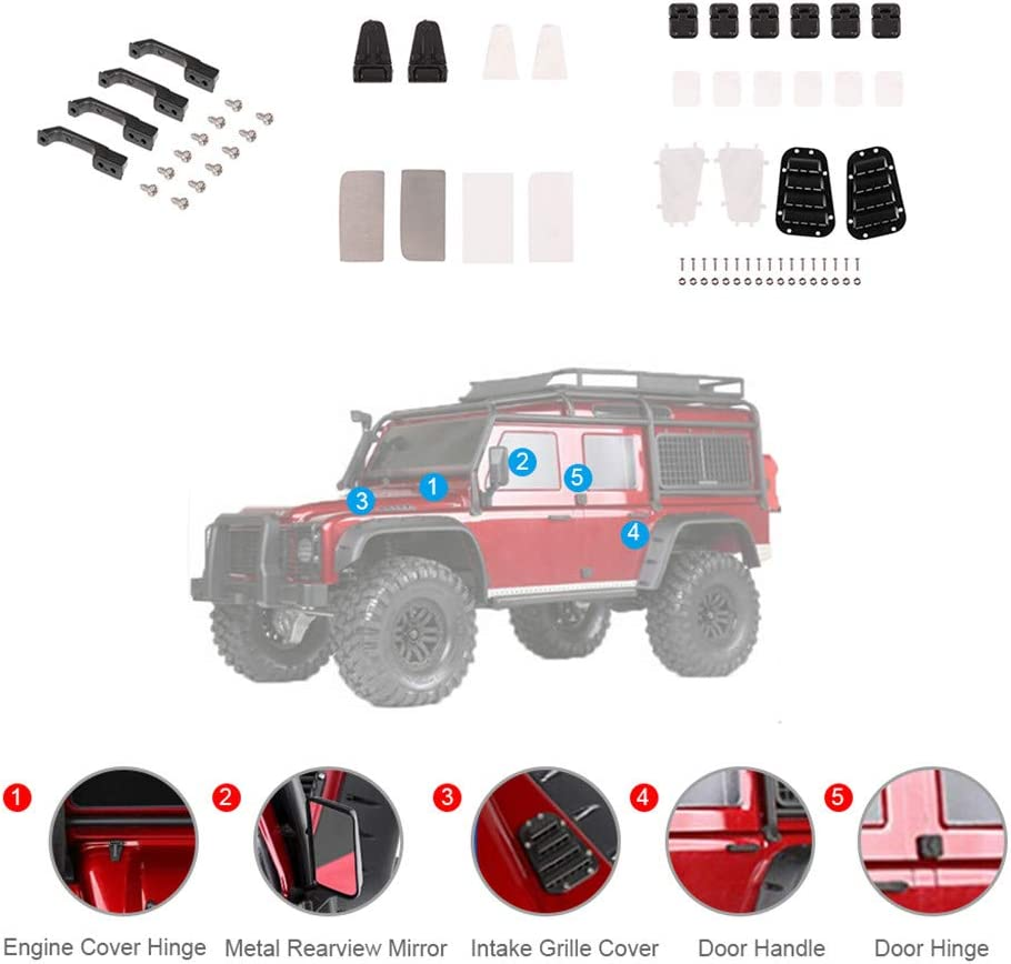 Parts /& Accessories RC TRX4 Plastic Car Door Hinge /& Engine Cover Hinge /& Door Handle /& Intake Grille Cover for Traxxas TRX-4 Color: Intake Grille