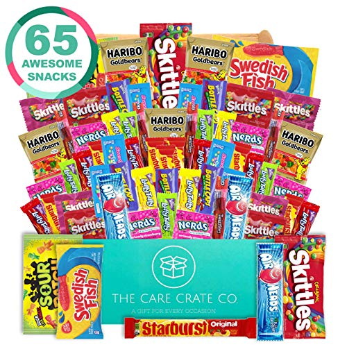 The Care Crate Ultimate Candy Snack Box Care Package ( 65 piece Candy and Snack Pack ) Includes 10 Full Size Candies - Starburst, Skittles, Twizzlers, Chips, Pretzels & - Care Love