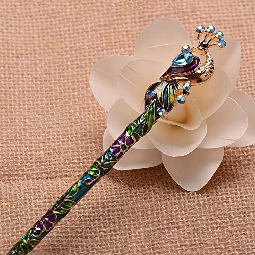 en Cloisonne Enamel Crystal Peacock Hair Stick Hairpin Chinese Style Handmade Hair Accessories ()