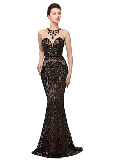 Engerla Womens Vintage Sequins Mermaid Evening Dress Maxi Long Prom Gowns: Amazon.co.uk: Clothing