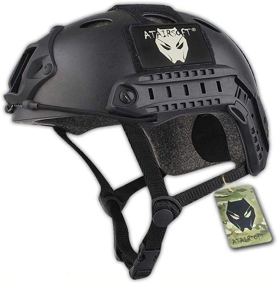 Photo of the ATAIRSOFT PJ Type helmet with the brand logo on top of the helmet, black color.