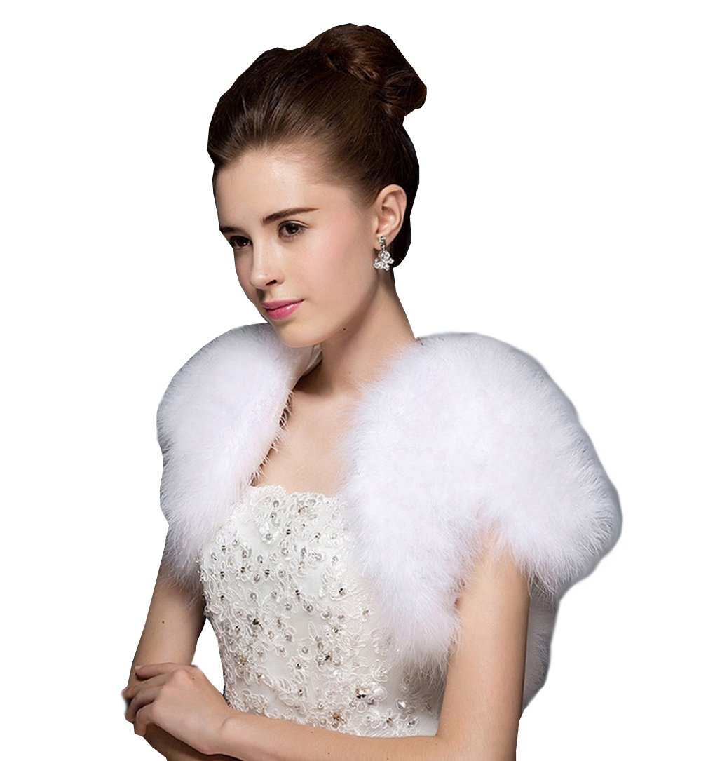 Kelaixiang Women's Faux Fur Wraps Shawls Jackets for Wedding Prom Party (White)