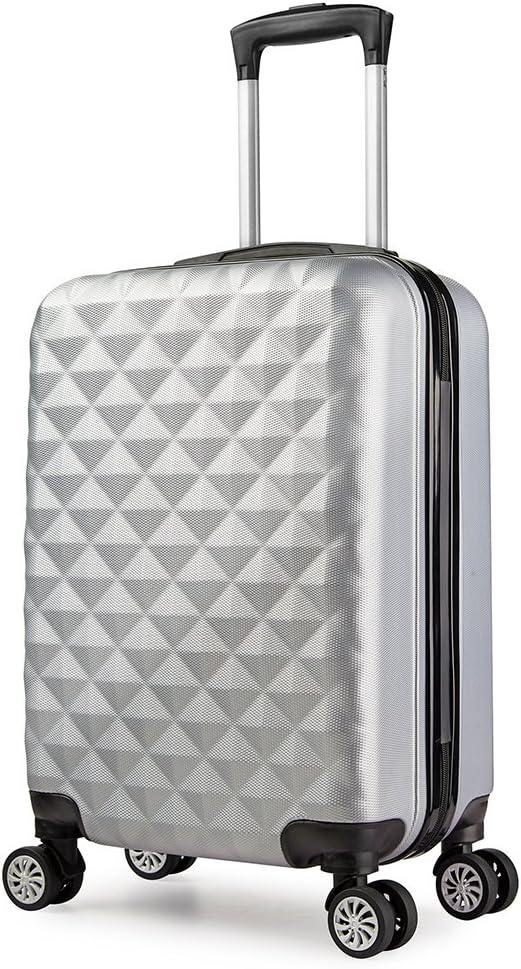 PARTYPRINCE Maleta cabina 56 cm rígida policarbonato abs diamante equipaje rigida con ruedas Grisl