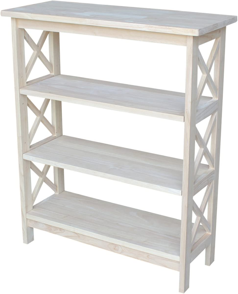 International Concepts 3-Tier X-Sided Bookcase, Unfinished