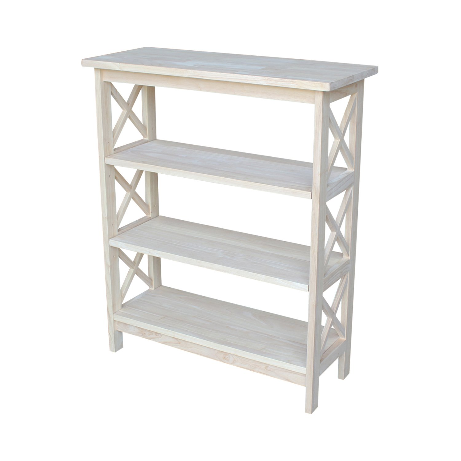 International Concepts SH-3630 X 3-Tier X-Sided Bookcase, Unfinished