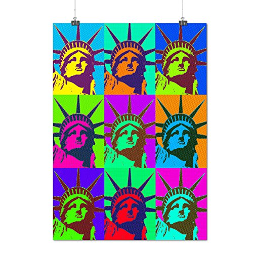 Lady Liberty Pop New York City Matte/Glossy Poster A2 (60cm x 42cm) | Wellcoda Queen Elizabeth Coat Of Arms