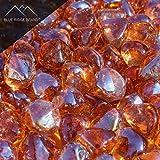 Blue Ridge Brand trade; Pink Champagne Reflective Fire Glass Diamonds – 5 Pound Professional Grade Fire Pit Glass – 1″ Coral Reflective Glass for Fire Pit and Landscaping