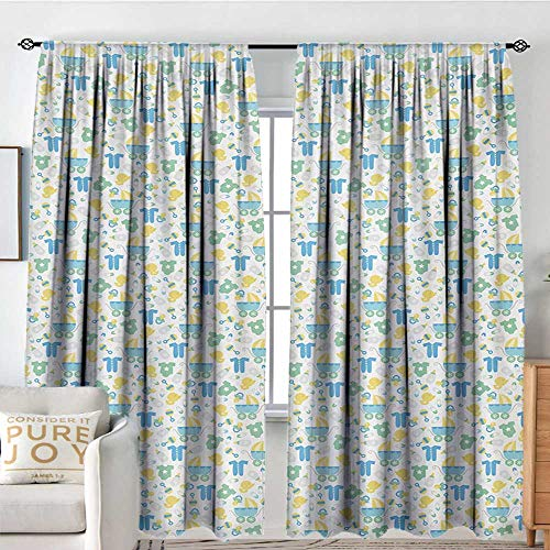 - Print Pattern Curtains Baby,Retro Newborn Items Stroller Rubber Duck Milk Bottle Pin Pyjamas Pattern,Blue Yellow Mint Green,for Room Darkening Panels for Living Room, Bedroom 54