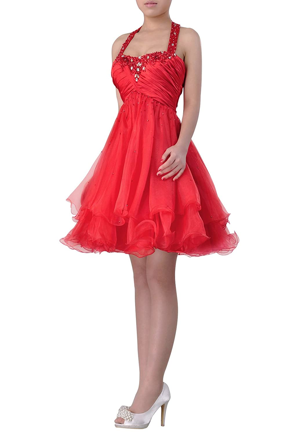 7cf89e69b04 Adorona Formal Prom Dress Organza Straps Halter Short Empire Night Out   Cocktail  Dress at Amazon Women s Clothing store