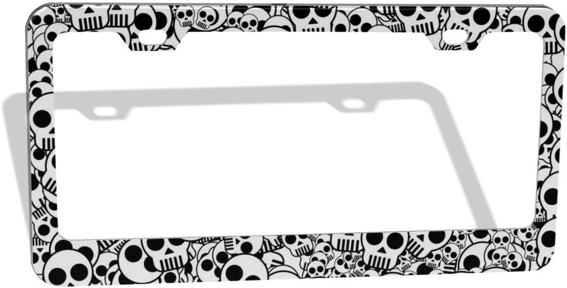 EXMENI Skull License Plate Frame Dead Skulls Design License Plate Holder Dark Gothic Pattern License Plate Frames Aluminum Car Tag Cover Holder for Us Standard 2 Hole and Screws