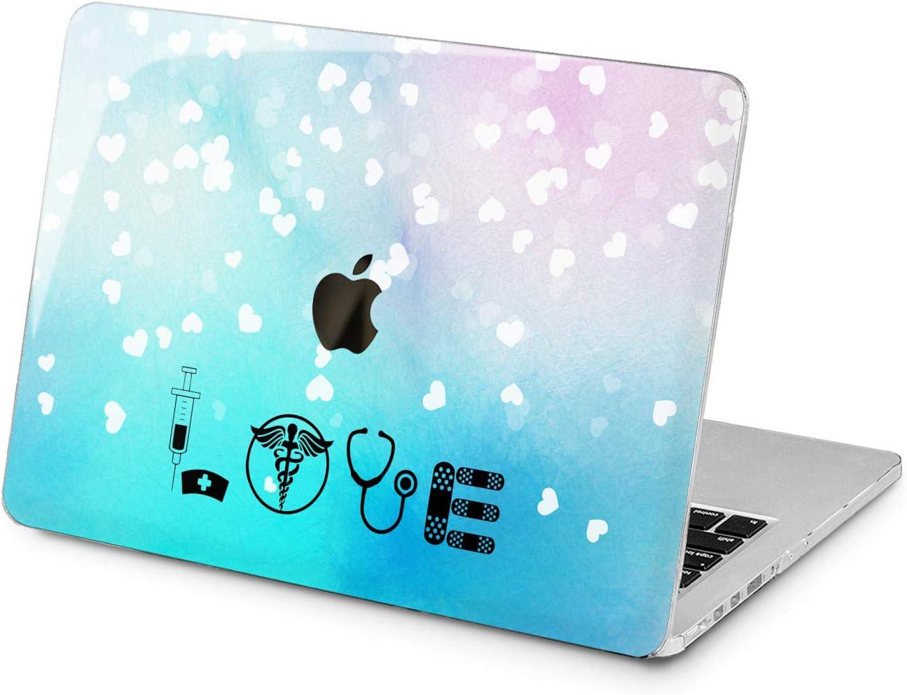 "Cavka Hard Shell Case for Apple MacBook Pro 13"" 2019 15"" 2018 Air 13"" 2020 Retina 2015 Mac 11"" Mac 12"" Plastic Especial Cover Blue Medicine Quote Protective Heart Print Design Laptop Pattern Love"