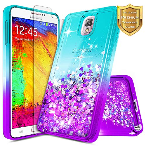 Note 3 Case, Galaxy Note 3 Glitter Case w/[Tempered Glass Screen Protector], NageBee Liquid Quicksand Waterfall Floating Flowing Sparkle Bling Cute Case Designed for Samsung Galaxy Note 3 -Aqua/Purple