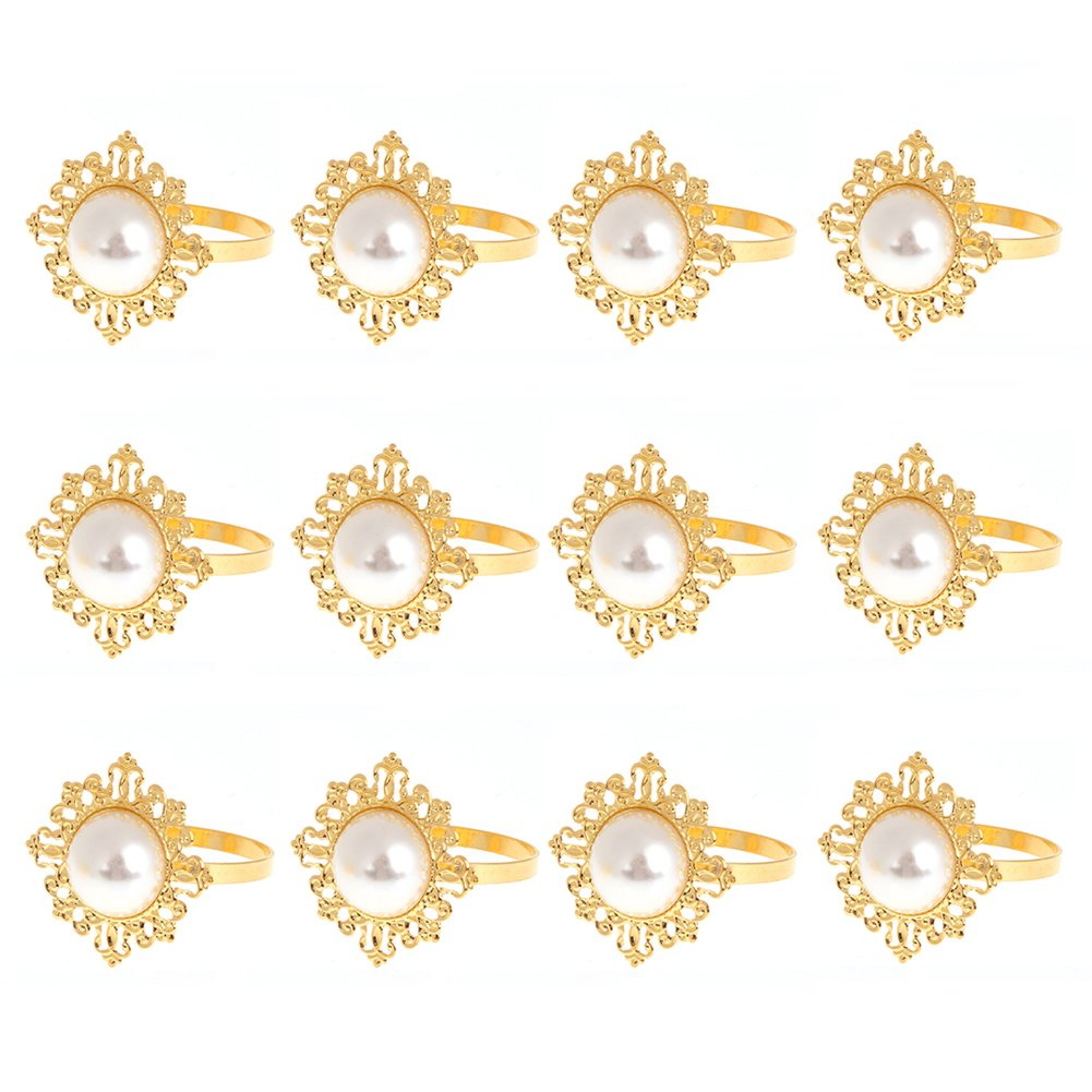 WinnerEco 12pcs gold pearl napkin ring dinner decoration(White pearl)