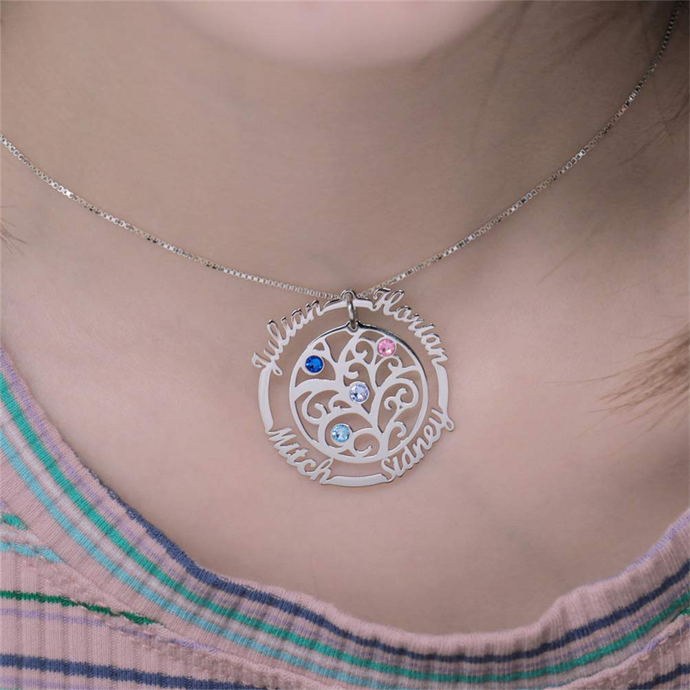 Quality.A Name Necklace Birthstone Family Tree Necklace My Eternal Love Collection
