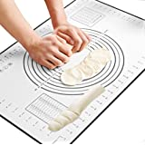 ZCHING Silicone Pastry Mat with Measurement Not-Slip Rolling Dough Mats for Baking (Black)