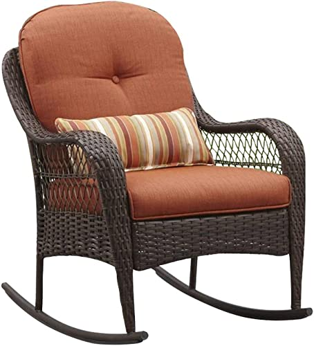 Patio Furniture Rocking Chair Brown Wicker Outdoor Porch Balcony All-weather UV Treated