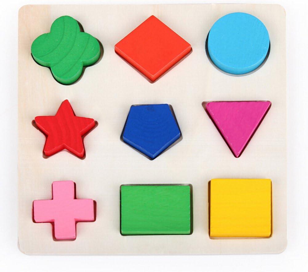 LAMEIDA Juguetes Educativo Juguetes Juegos Juguetes Rompecabezas de Madera con Diferente Figuras para Niño Bebé Muchacho Muchacha Niña 15*15*0.7cm