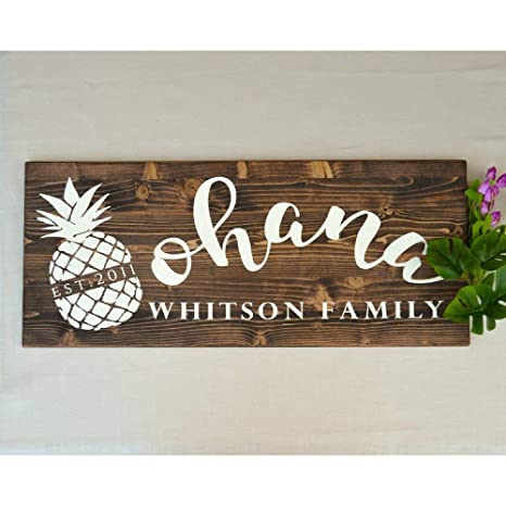 Amazon.com: Ohana - Cartel de madera impreso con nombre de ...
