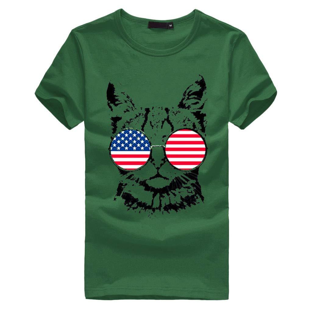 Peigen Women Girls Plus Size American Flag Cat Print Tees Shirt Short Sleeve Blouse Top