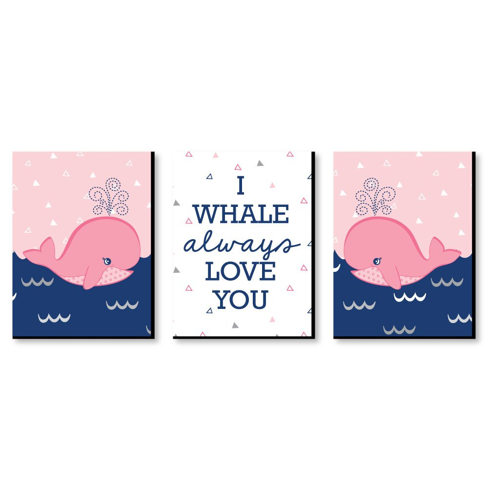 "Tale Of A Girl Whale - Baby Girl Nursery Wall Art & Kids Room Decor - 7.5"" x 10"" - Set of 3 Prints"