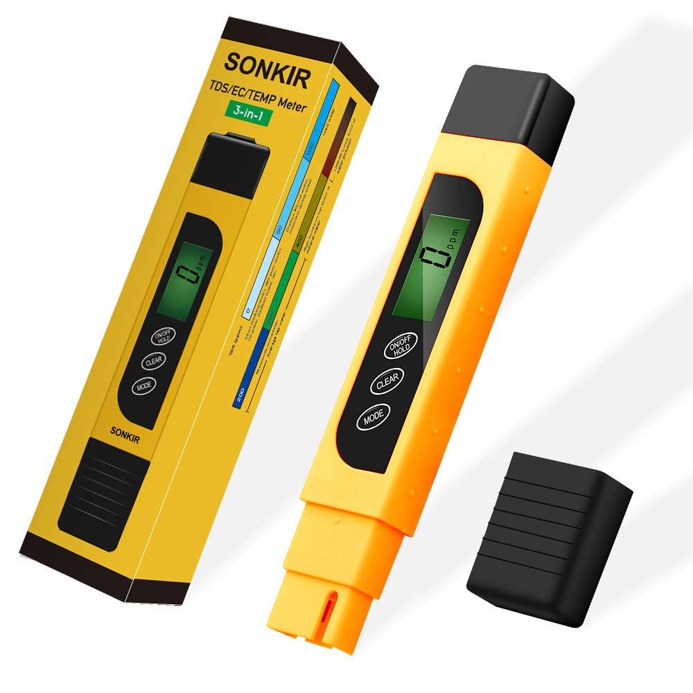 TDS Meter, Sonkir 3-in-1 TDS/EC/Temp Meter, Digital Water Quality Tester for Drinking Water Purity Test, Swimming Pools, Aquariums, Hydroponics, Measure 0-9999ppm (Yellow) by Sonkir