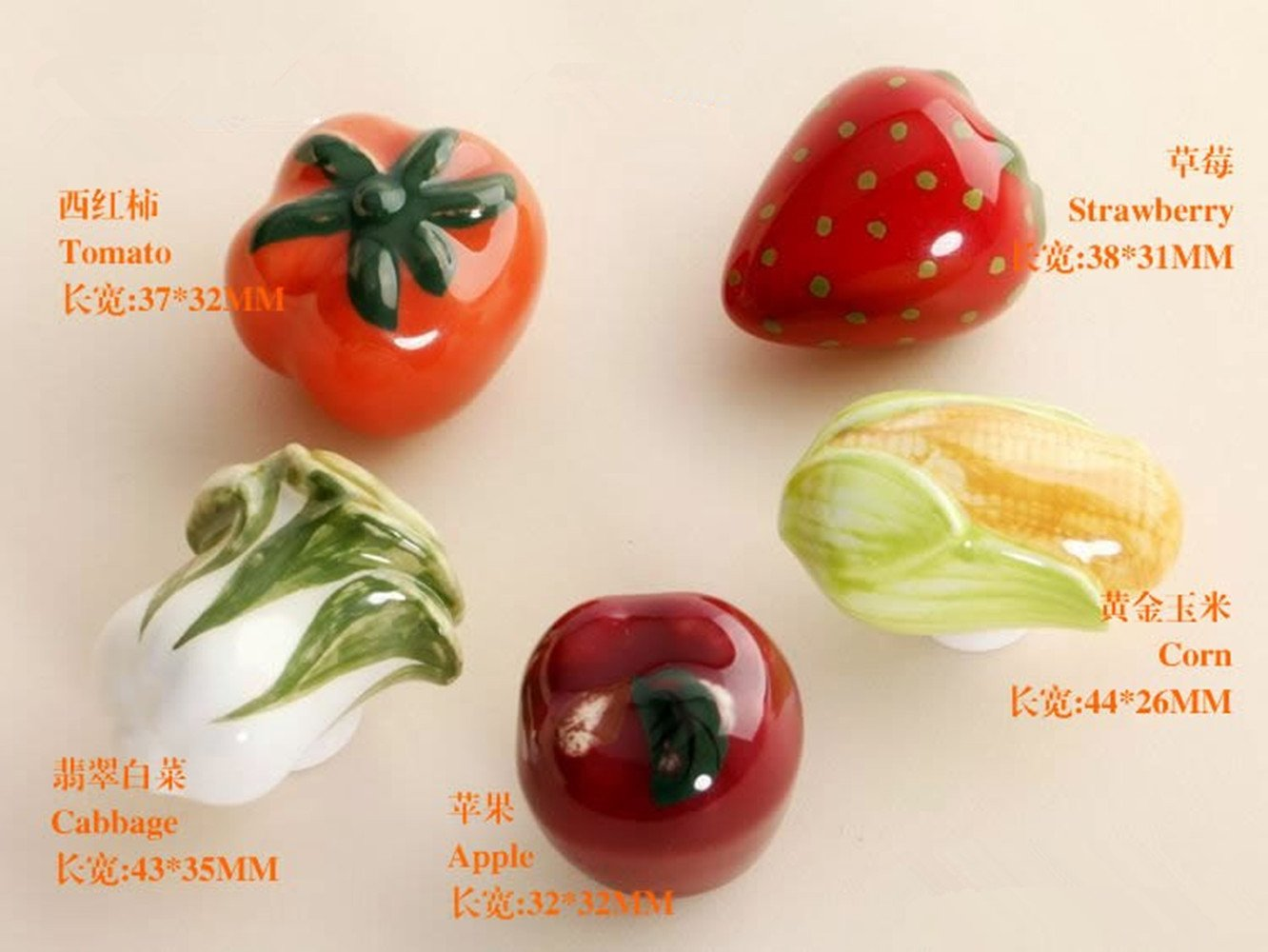 5pcs//Set Ceramics Cabbages Tomatoes Corn Strawberries Fruits and Vegetables Shape Cabinet knobs and Handles for Childrens Furniture Drawer Handles