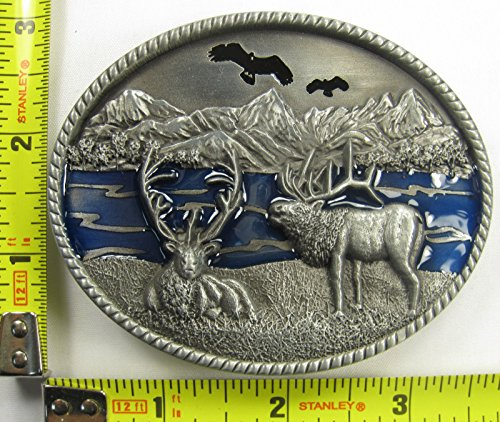 Wilderness Scene Belt Buckle Moose River Mountain B254