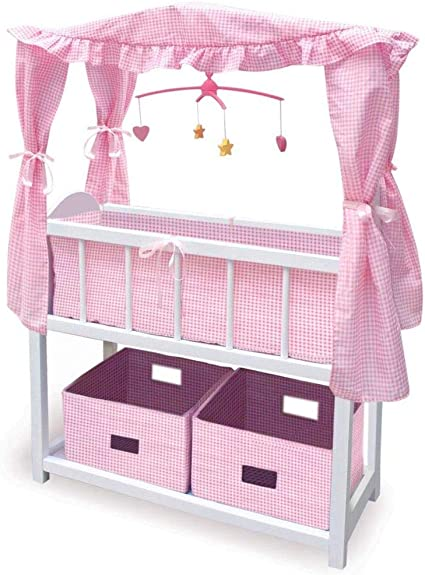 Canopy Doll Crib with Baskets Bedding Children Play Gift Toy Set and Mobile