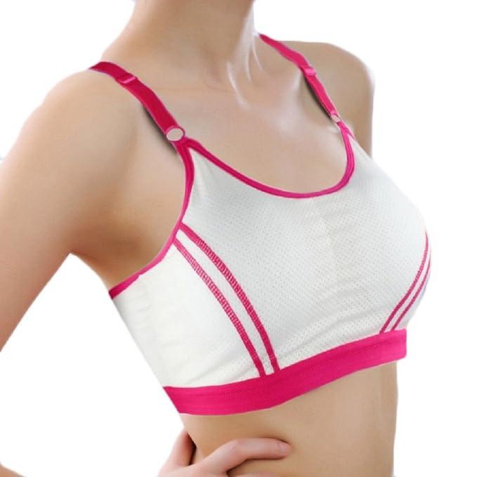 Ularma Deportes atléticos envoltura sólida pecho correa chaleco Tops sujetador de las mujeres (Talla única