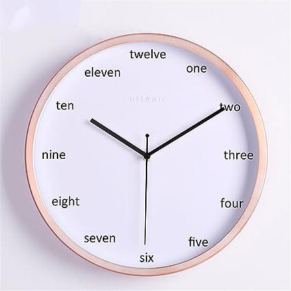 Maivasyy 12 pulgadas Reloj de pared redondo de metal artístico creativo Salón Dormitorio Mute reloj,