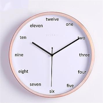 Maivasyy 12 pulgadas Reloj de pared redondo de metal artístico creativo Salón Dormitorio Mute reloj, reloj de cuarzo blanco, Inglés oro digital: Amazon.es: ...