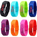 CdyBox Men Women Kids Digital Wristwatch Touch Screen LED Bracelet Silicone Band Watch (8 Pack)