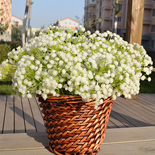 Meiliy 10pcs Plastic Artificial Baby Breath Gypsophila Flower for Home Wedding Office Party Decoration