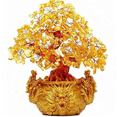 (2500 Silk Art 7.48 inch Feng Shui Yin Yang I Ching Yellow Crystal Money Tree Double Dragon for Wealth Luck Office Living Room Good Luck Decoration)