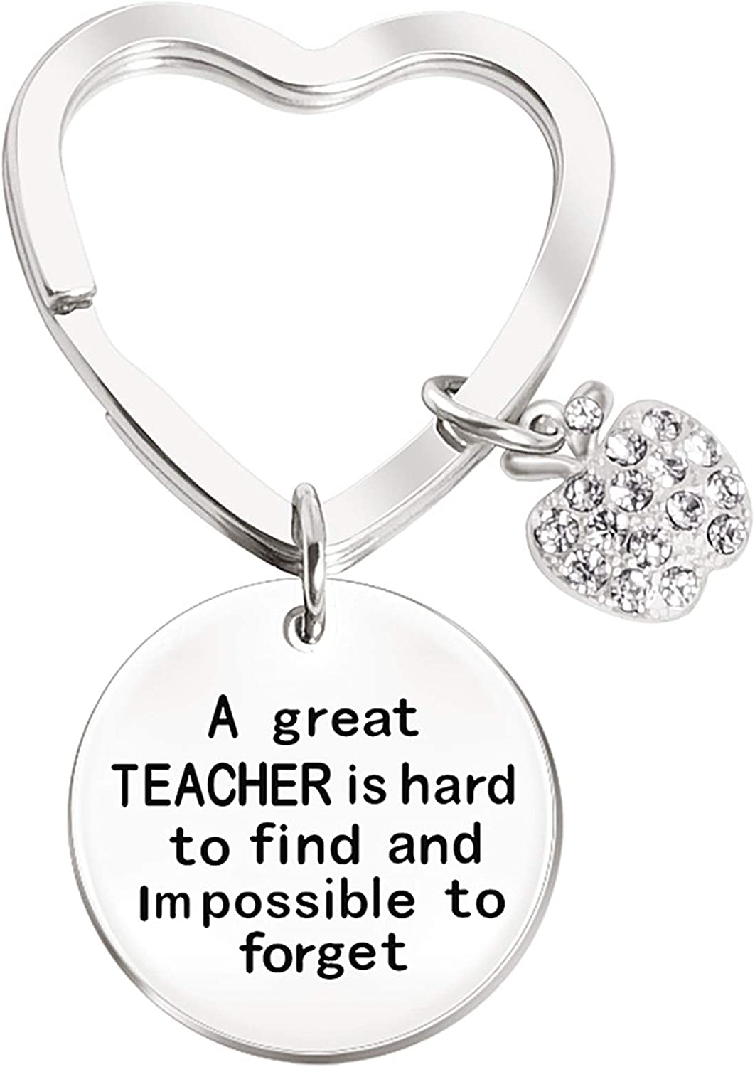 Teacher Keychain for Gift Women Appreciation Teacher Keychain Great Teacher is Hard to Find and Impossible to Forget Diamond Apple Charm Key Ring Jewelry For Teacher's Day,Thanksgiving, Christmas