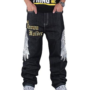 nuovo di zecca 322d6 5451c Dexinx Uomo Ricamo Charming Squisito Stampa Jeans Primavera Baggy ...