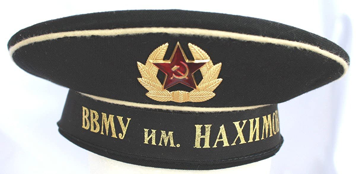 d18e3058594da Amazon.com  ORIGINAL Soviet USSR Navy Sailor Hat 1980th with ribbon and Cap  Badge  Clothing