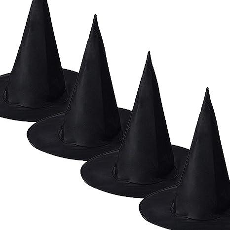 QBSM 10 PCS Women Black Witch Hat Kids Wizard Hats Halloween Costume Party Decoration Accessories